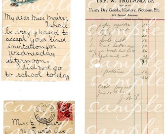 Aged Vintage Paper Receipts Letters Envelope Digital Download for ATC, ACEO, collage, scrapbooking