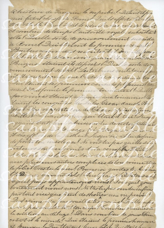 Vintage 1840 French Handwritten Manuscript Paper Digital Instant download for collage,  jewelry, charms, hang tags, ACEO, altered art