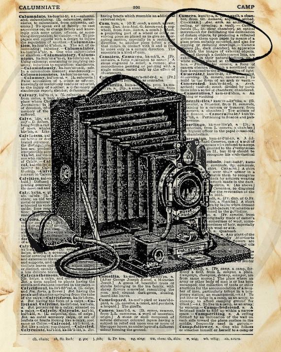 Dictionary Art Print Vintage Camera Illustration Instant Digital Download 8 x 10