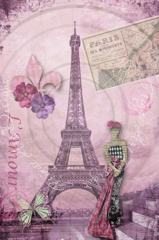 Deconstructing Paris Collage No 1 L Amour Eiffel Tower