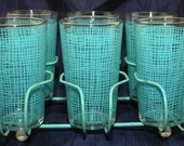 Vintage Drinking Glasses with Rack - Aqua - Federal Glass