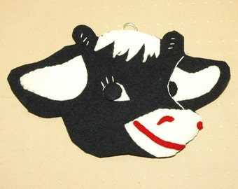 Vintage Hand Made Cow Wall Hanging - 1940's - Elsie