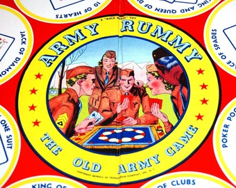 Sale! Army Rummy Board Game Vintage 1942