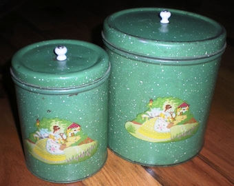 Sale! Vintage Metal Canister Set - 1940's