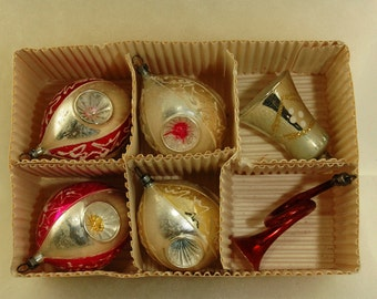 Vintage Mercury Glass Christmas Czechoslovakia Ornaments - Set of 6