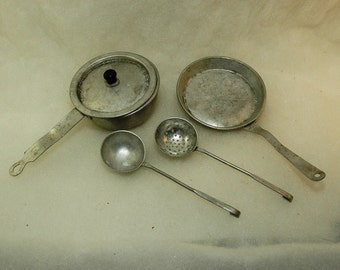 Vintage Toy Metal Dishes - Pots - Pans - Spoons