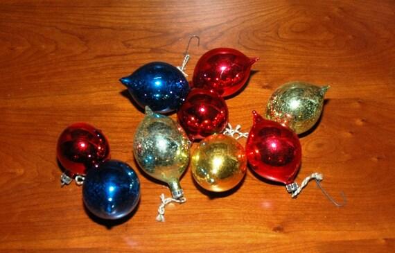 Vintage Mercury Glass Christmas Poland Ornaments - Set of 9