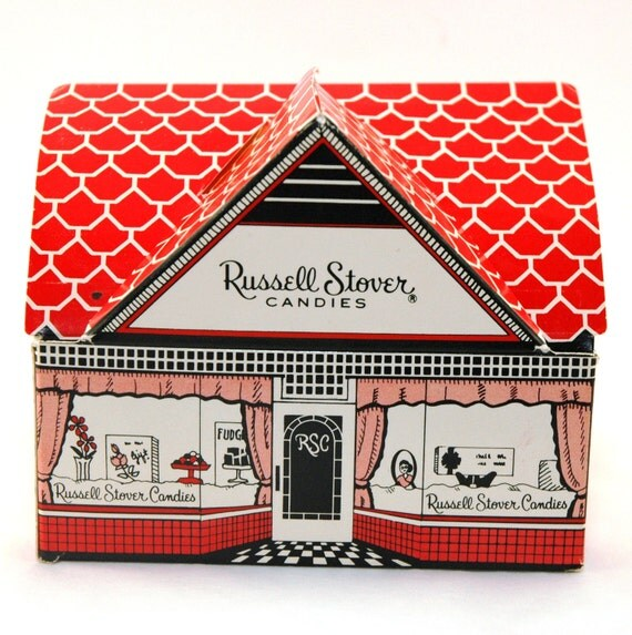 Vintage Russell Stover Cottage Candy Box Coin Bank