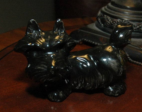 Scottie Dog Figurine - Ceramic Scotty Dog - Scottish Terrier