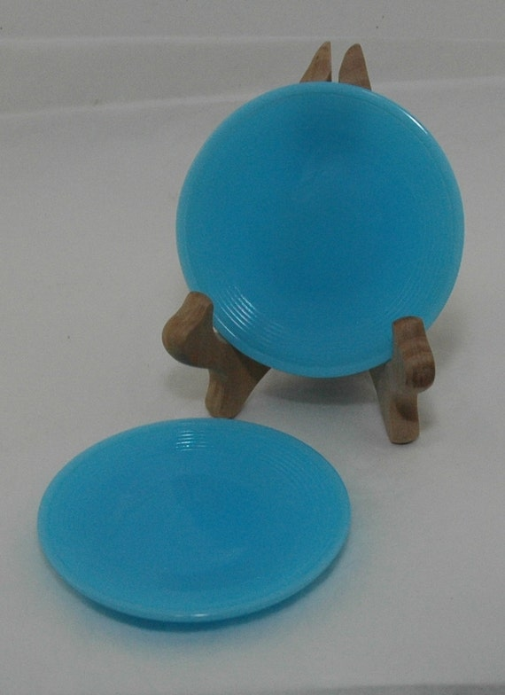 Akro Agate Turquoise Plates - Children's Dishes