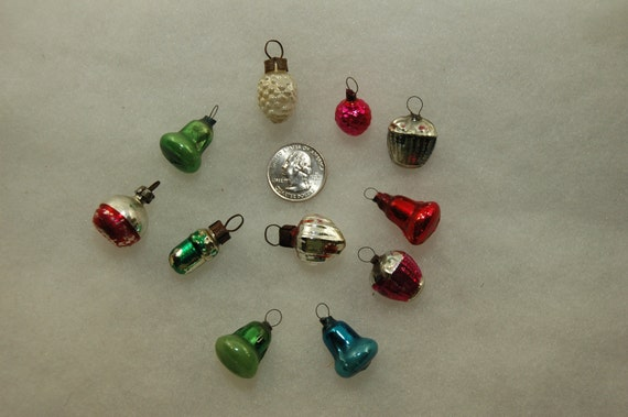 Christmas Ornaments - Early Glass Feather Tree Christmas Ornaments - Set of 11