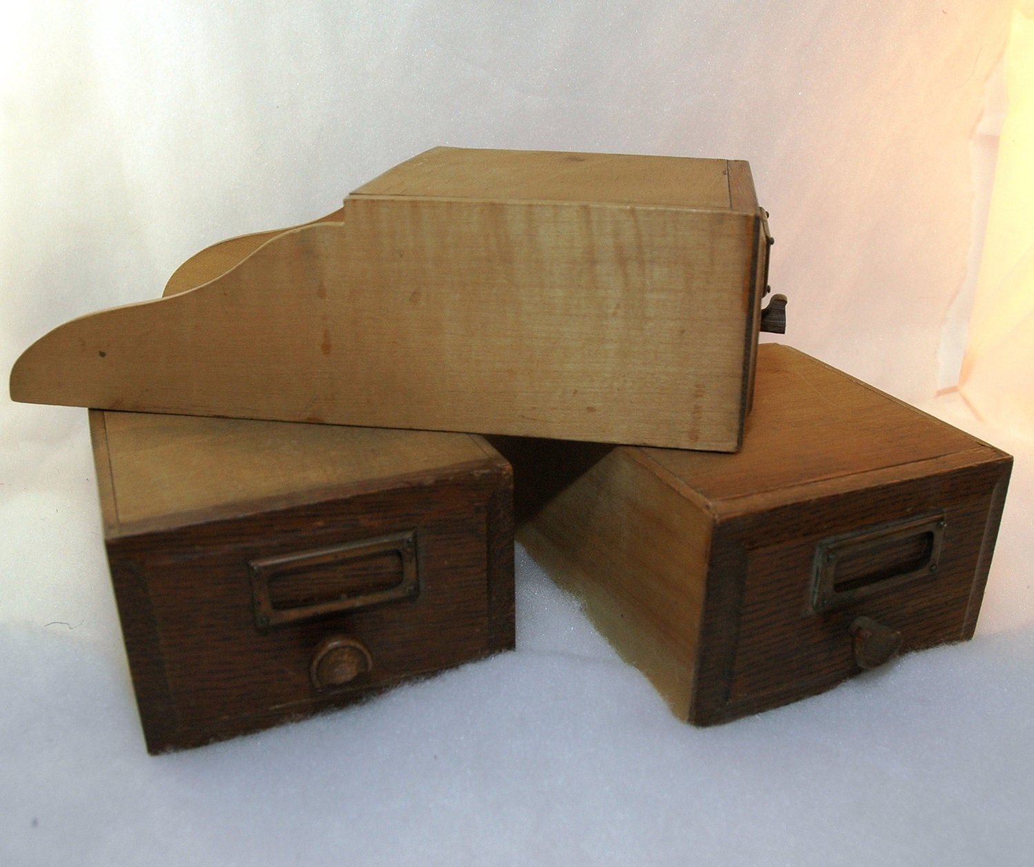 Roll Top Desk Drawers Wooden Cubby Covers Set Of 3
