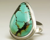 Turquoise Ring Sterling Silver Natural Stone Handmade-size 8