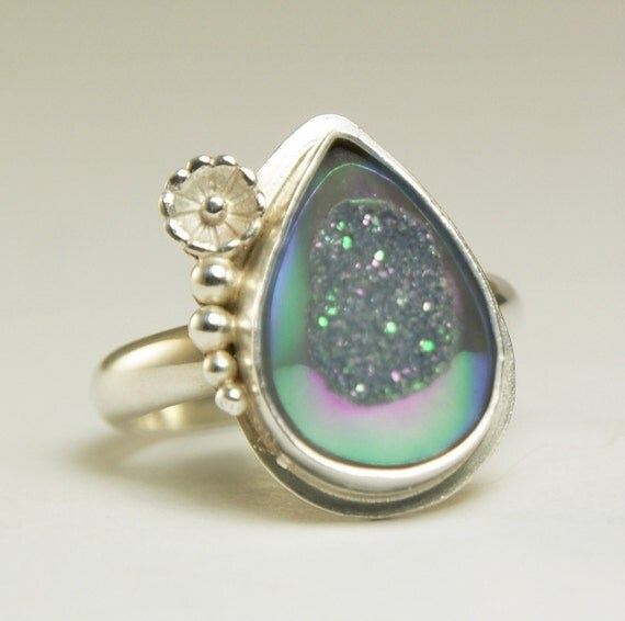 Rainbow Druzy Ring Sterling Silver Handmade-size 6 1/2