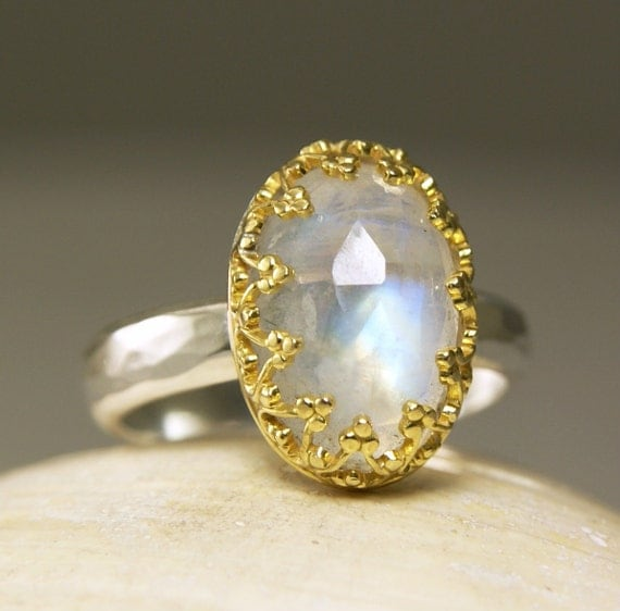 Rainbow Moonstone Ring Sterling Silver 14k Gold Natural Stone Crown of Hearts-made to order in your size