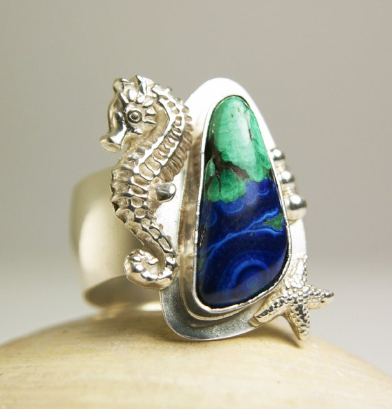 Sterling Silver Seahorse Ring, Bisbee Azurite and Malachite, Natural Blue and Turquoise Stone, Handmade Jewelry-Reserved for Cadey