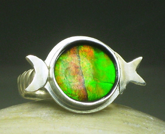 Sterling Silver Natural Ammolite Ring, Desposit for Miss T