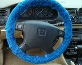 SALE Sapphire Blue Knit Steering Wheel Cover with safety rubber backing