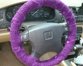 SALE Warm Violet Knit Steering Wheel Cover with safety rubber backing
