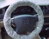 SALE Shale Grey Knit Steering Wheel Cover with safety rubber backing