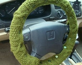 CLEARANCE SALE Pesto Green Knit Steering Wheel Cover with safety rubber backing