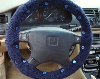SALE Navy Blue Knit Steering Wheel Cover with safety rubber backing