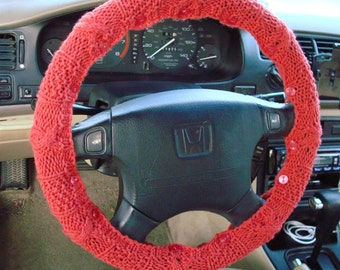 SALE Coral Knit Steering Wheel Cover with safety rubber backing