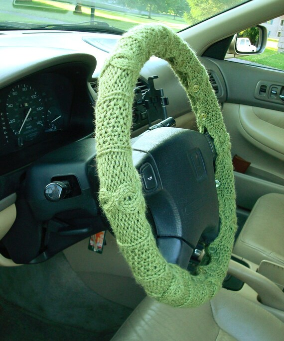 CLEARANCE SALE Fern Green Knit Steering Wheel Cover with safety rubber backing