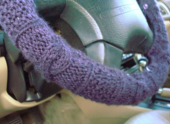 Knit Steering Wheel Cover (Eggplant) with safety rubber backing - machine washable