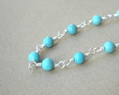 Cyber Monday Etsy Sterling Silver and Turquoise Chain Necklace