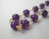 Round Amethyst Necklace 14K Gold Fill
