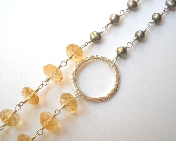 Citrine Necklace Sterling Silver Necklace Circle Necklace Pearl Necklace Beaded Necklace Rosary Necklace