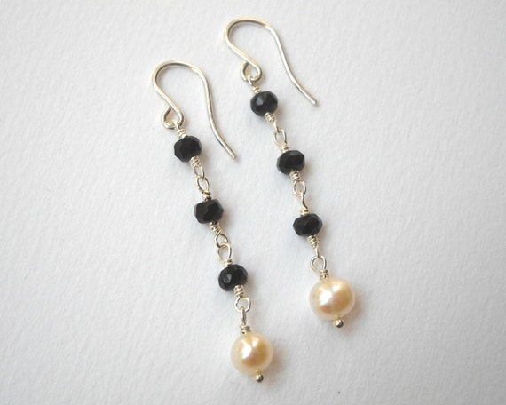 Onyx and Pearl Earrings - Beaded Earrings Sterling Silver Earrings Black and White Beadwork Earrings Dangle Earrings