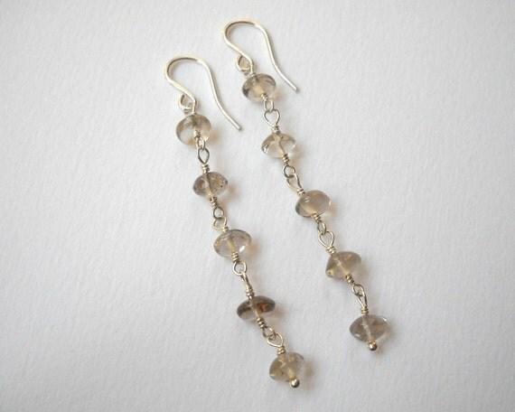 Clearance Sale - Smoky Quartz Earrings - Sterling Silver Long Beaded Dangle Earrings
