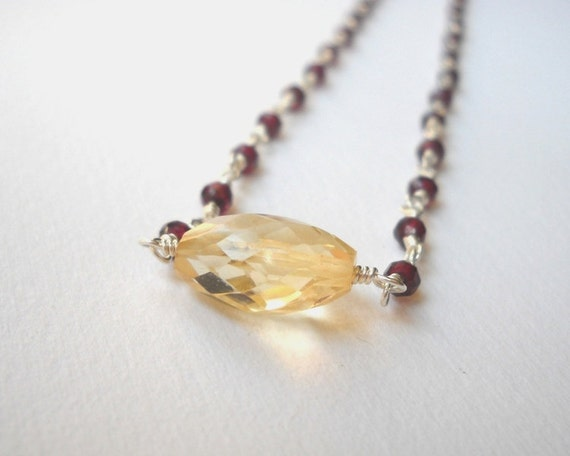 Citrine Necklace Garnet Necklace Beaded Necklace Sterling Silver Necklace Rosary Necklace