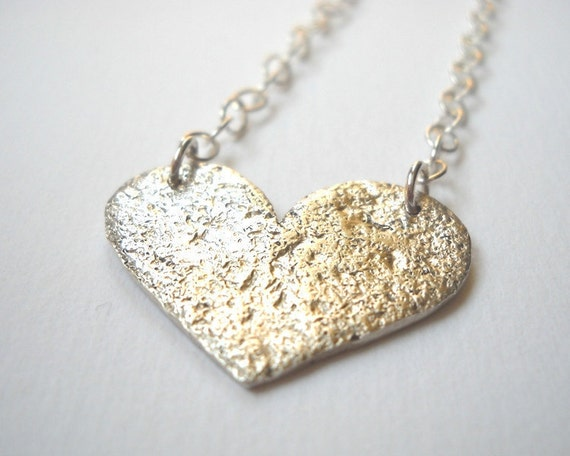 Year End Clearance Sale - Concrete Heart Large Necklace - SterlinG Silver Textured Heart Pendant