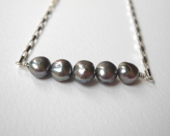 Clearance Sale - Gray Pearl bar Necklace - Sterling Silver Beaded Cultured Freshwater Pearl Row Necklace
