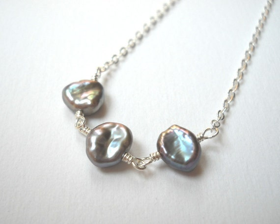 Cyber Monday Etsy Jewelry Keishi Pearl Necklace - Sterling Silver Trio of Keshi Pearls Beaded Rosary Necklace