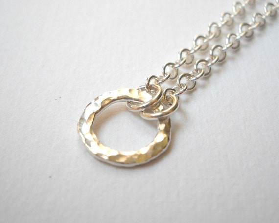 Clearance Sale - Tiny Circle Necklace - Sterling Silver Hammered Ring Link Necklace