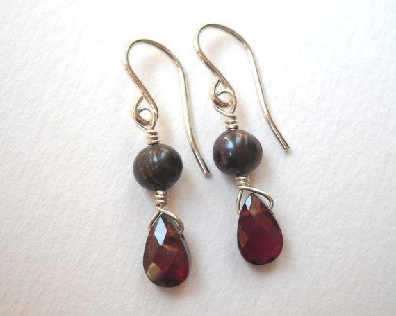 Clearance Sale - Garnet and Pearl Earrings - Sterling Silver Beaded Briolette Dangle Earrings