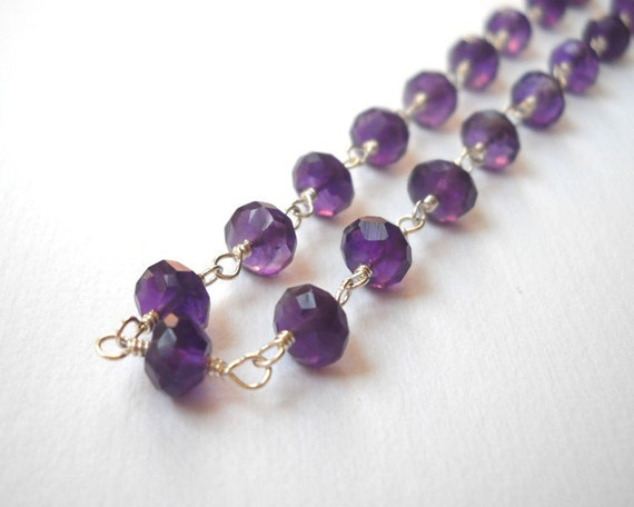 Amethyst Necklace - Sterling Silver Beaded Rosary Necklace Deep Purple Beadwork Necklace