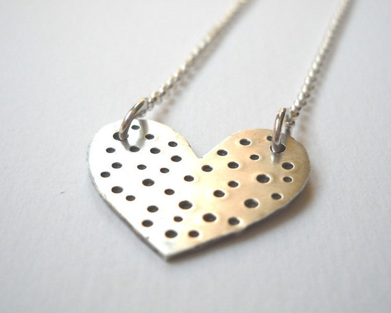 50% OFF Polka Dot Heart Necklace - Sterling Silver Heart Hand Stamped Pendant