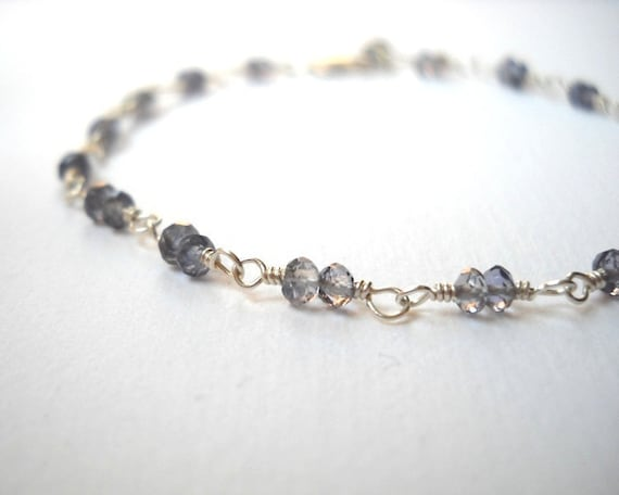 Year End Clearance Sale - Iolite Bracelet - Sterling Silver Beaded Rosary Sapphire Bracelet Faceted Stones