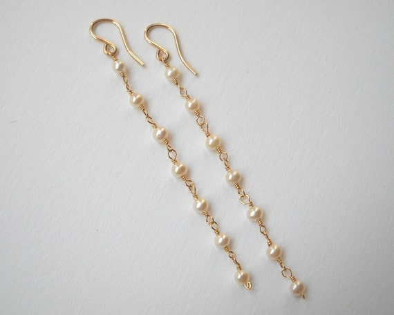 Long Pearl Earrings - Gold Filled Little Pearl Dangle Earrinngs