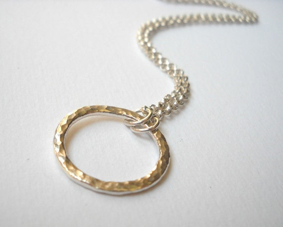 Large Circle Necklace - Sterling Silver Hammered Ring Link Necklace