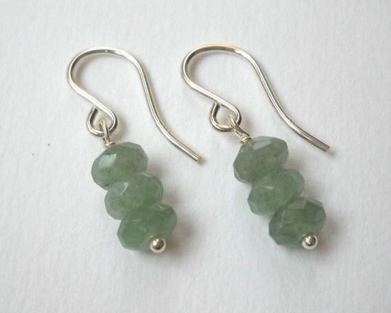 Clearance Sale - Green Aventurine Earrings - Sterling Silver Beaded Dangle Bar Earrings