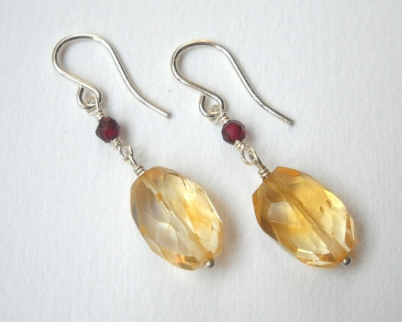 Clearance Sale - Garnet and Citrine Earrings - SterlinG SIlver Dangle Earrings Faceted Drop Earrings