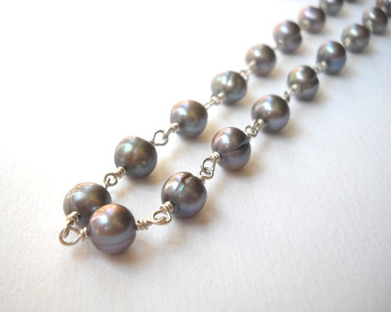 Gray Pearl Necklace - Sterling Silver Beaded Rosary Necklace Gray Cultured Pearl Strand Beadwork Necklace