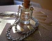 Alice in Wonderland Glass Miniature Drink Me Necklace w/ handmade label