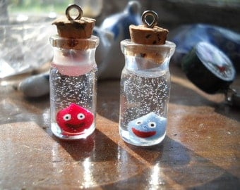 Dragon Quest Slimes in Mini Glass Bottle, Pendant/Charm